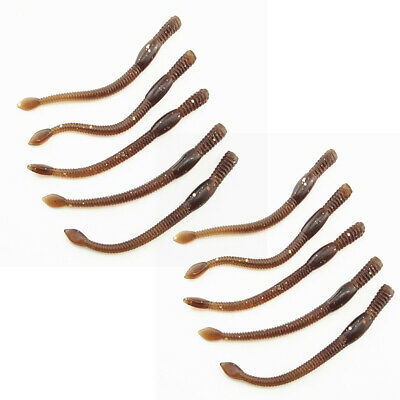 10pcs Fish Soft Earthworm Fishing Lures Grub Worm Trout Silicone Bait 8cm