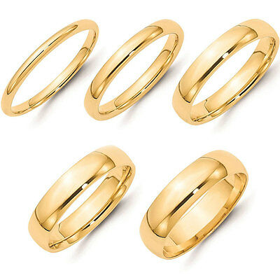 Solid 14K Yellow Gold 2Mm 3Mm 4Mm 5Mm 6Mm Plain Comfort Fit Wedding Band Ring