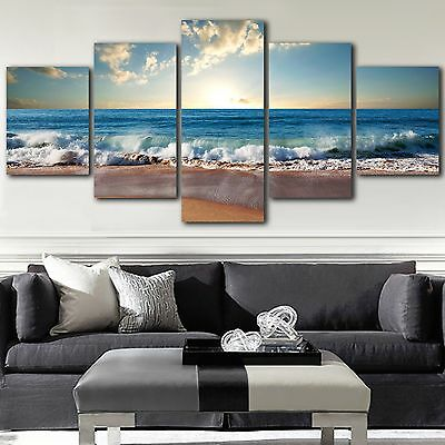 Framed canvas prints seascape print Beach Wave Waves view diamond split sea art