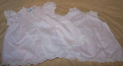 Vintage Baby Clothes Dress Pink & White Lace Smocked & Slip Feltman Brothers