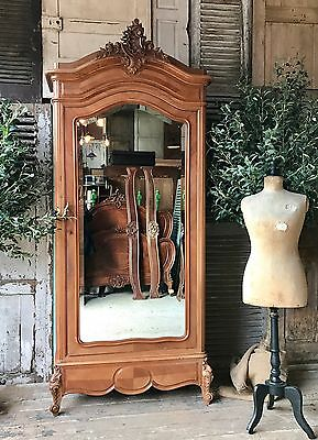 Original vintage French Louis XV armoire with Mirrored door