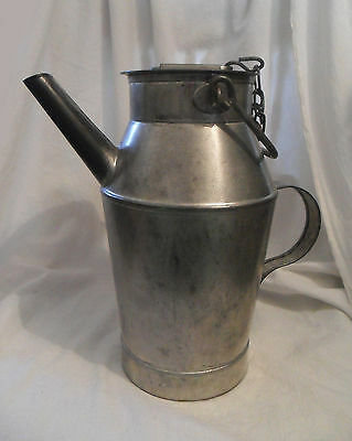 Vintage Metal FRENCH Old Milk Cream Dairy Can JUG Pitcher w/ Spout & Lid, France