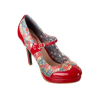 BRAND NEW Banned Footwear Ladies Red Patent Floral Mary Jane Strap Platforms