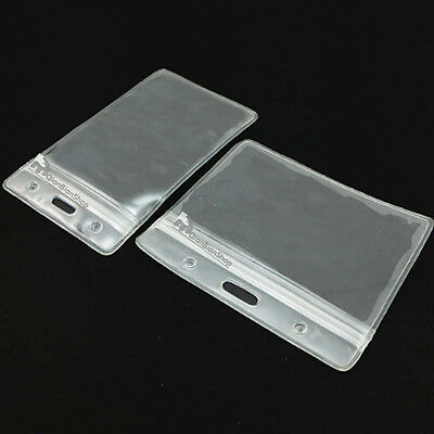 ID Card Holder Plastic Card badge ZIP Waterproof Horizontal Vertical Clear