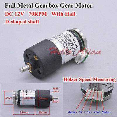 Full Metal Gearbox Gear Motor with Hall DC12V 70RPM Large Torque D Shaped Shaft