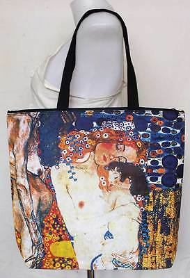Gustav Klimt Mother & Child ART Print Tote Shopping Bag with ZIP Closure