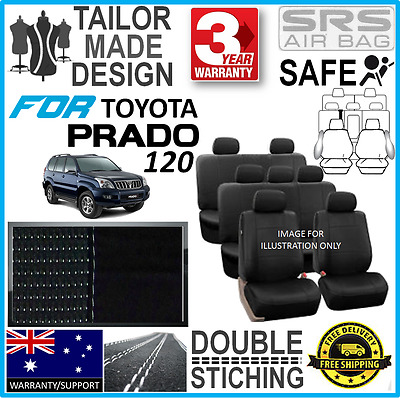 #For Toyota Prado 120 Series Back & Poly Canvas Seat Covers Airbag Safe Custom