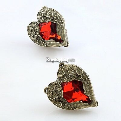 Retro Bronze Cute Red Crystal Rhinestone Gem Wing Love Heart Earrings 1 Pair01