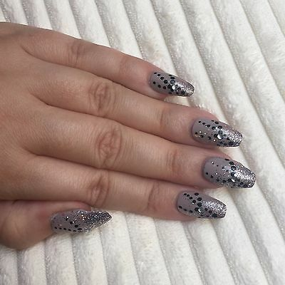 Hand Painted False Nails COFFIN (ALL SHAPES) Full Cover. Silver Sparkle. UK