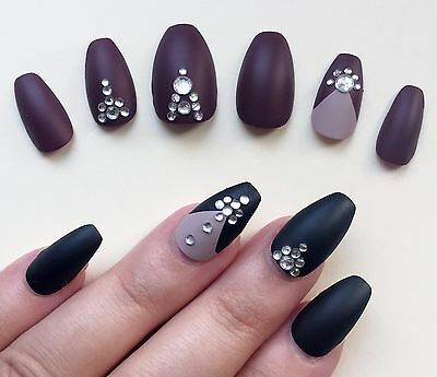 Hand Painted False Nails Coffin (Or ALL SHAPES) Full Cover. Matte Seduction. UK