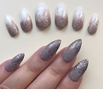 Hand Painted False Nails Stiletto (Or ALL SHAPES) Full Cover. Glitter Ombre. UK