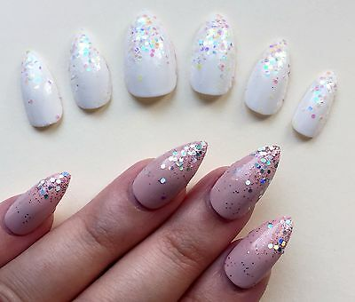 Hand Painted False Nails Stiletto (Or ALL SHAPES) Full Cover. Glitter Unicorn UK