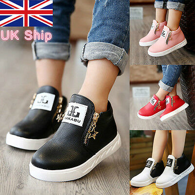 UK Stock!Kids Girls Boys Casual PU Leather Trainers Ankle Martin Boots Zip Shoes