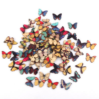 100pcs Color Wooden Shape Butterfly Buttons Embellishments for Scrapbooking
