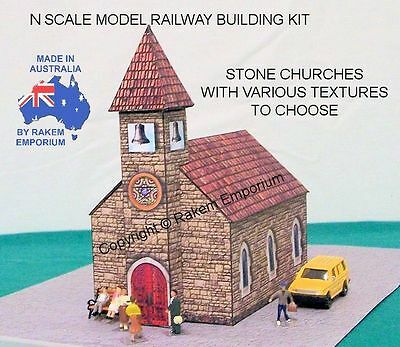 N Scale Church Stone Model Railway Building Kit