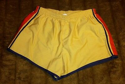 VTG Beige Yellowish Short Shorts Swimming Trunks Striped Side Large 36 38 RETRO