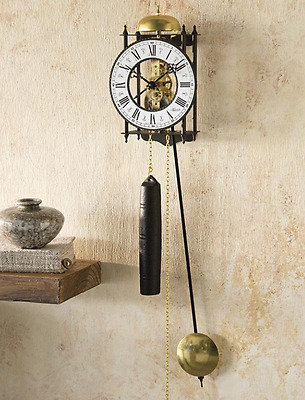 Vintage Large Wall Clock Mechanical Eight-day Chain Design Home Display Decor