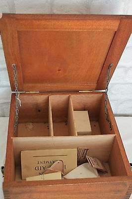 Vintage Wood Industrial First Aid Box, Circa 1960, made by Reynolds and Branson