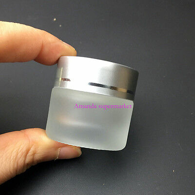 Empty Jar Pot Cosmetic Cream Glass Container , Silver glass bottles 10G