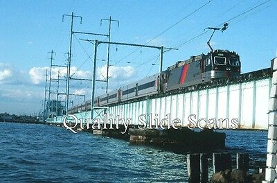 Orig. Slide New Jersey Transit 4406 AEM7 Action S Amboy, NJ 6-11-92