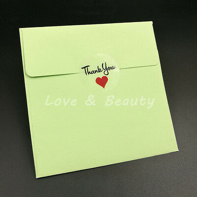 3CM Thank You Love Red Heart transparent Stickers Handmade Decoration 100pcs