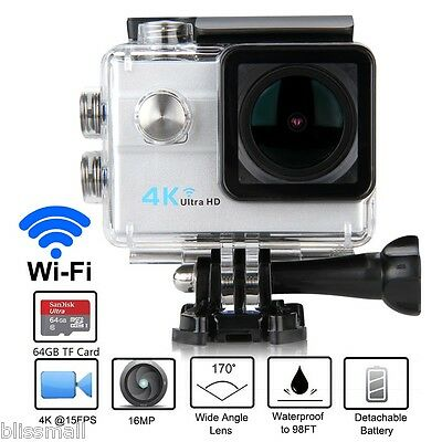 "Q8 Pro Cam 2"" 4K Sport WiFi Action Camera Ultra HD 16MP Videocamera Subacquea DV"