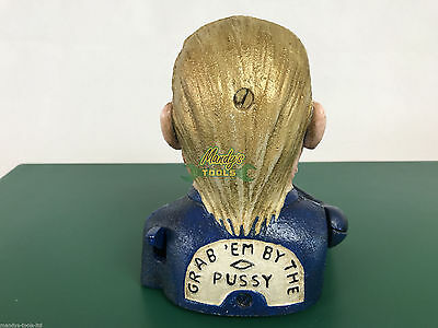 Cast Iron Donald Trump Money Bank Box Hand Coins to Trumps Mouth Slogan on Back