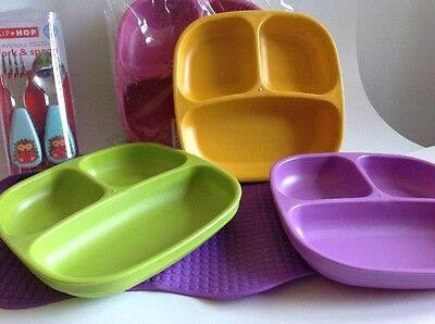 Replay Divided Plate Lot Skip Hop Fork And Spoon Set Gummy Mat
