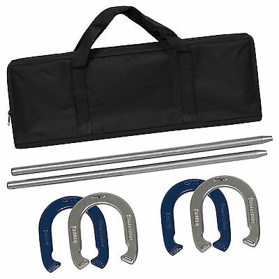 Powder Coated Steel Horseshoe Toss Outdoor Backyard Party Game Set Carrying Case