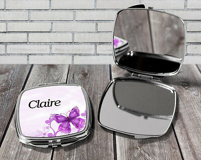 Personalised compact mirror, Butterfly print, Pocket mirror gift, Gift for her
