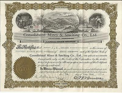Consolidated Mines & Smelting Co. Ltd. 1936 150 Shares Stocks W/ Letter Mining