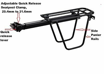 REDNECK SPORTS  saddle seat post mounting alloy rear carrier rack, MAX LOAD 10KG