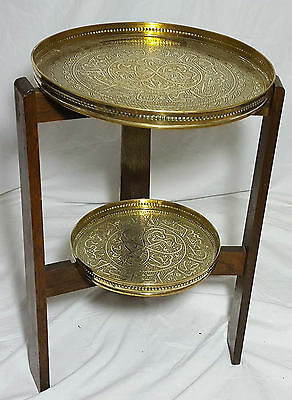 Beautiful Antique 2 Tray Middle Eastern Brass Tray Table.