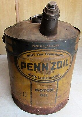 Pennzoil Five Gallon Oil Can Large Bail Wooden Handle