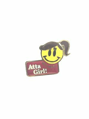 Rare Walmart Smiley Atta Girl Wal Mart Lapel Pin Pinback Brand New 058