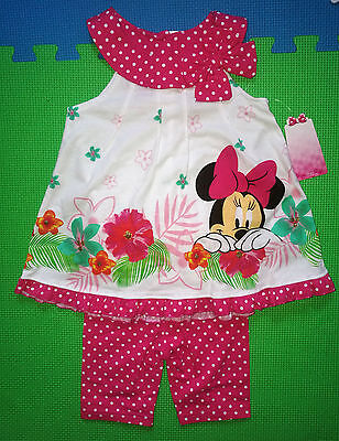 @*disney 2Pc Minnie Mouse Sleeveless Floral Print Top & Knit Shorts@nwt!