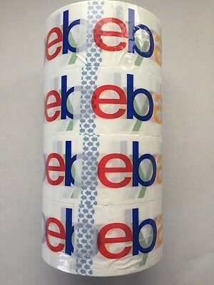 Lot of (4) Rolls White Ebay Branded  Shipping Tape