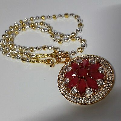 "New Necklace Gold Plated and Silver length 20 ""& Pendent Red Color Gemstone"