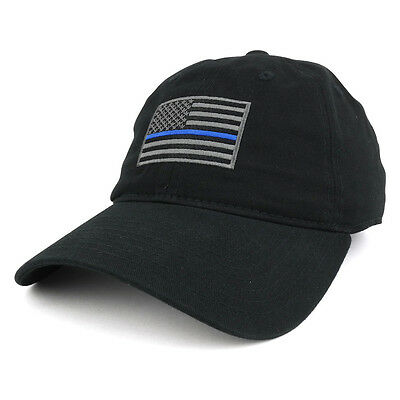 Thin Blue Line Embroidered USA Flag Soft Fit Washed Cotton Baseball Cap