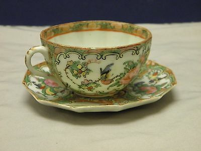 ANTIQUE CHINESE EXPORT 1st EDITION 1850's ROSE MEDALLION CUP AND SAUCER