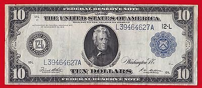 1914 $10 Federal Reserve Note San Francisco (Type B ) Rare.