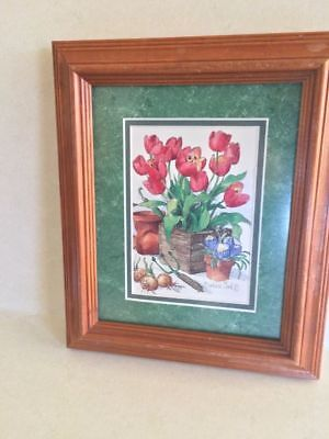 Vintage Wood Frame Tulip Flowers Wall Picture Signed Barbara Mock Matted  Glass