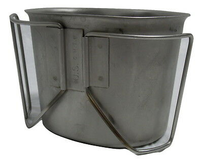 Military Stainless Steel 1 Quart Water Canteen Cup Wire Handle 8465-00-165-6835