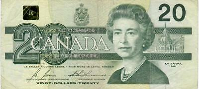 1991-Canada $20 AIX Replacement Banknote Bonin-Thiessen BC-58bA-i Circulated.