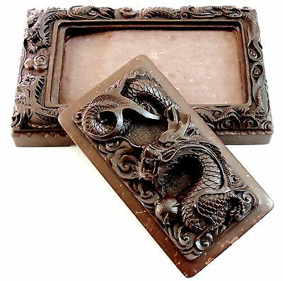 """Chinese Dragon's sculpture INK STONE """"SUZURI"""" Calligraphy tool 012601"""