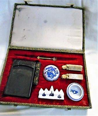 Antique Chinese Fancy Summi Paint Box w/ Ink Red Wax etc.
