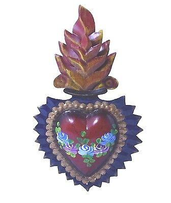 Milagro Flaming Heart Painted With Flowers Ex voto Nicho Retablo # 1