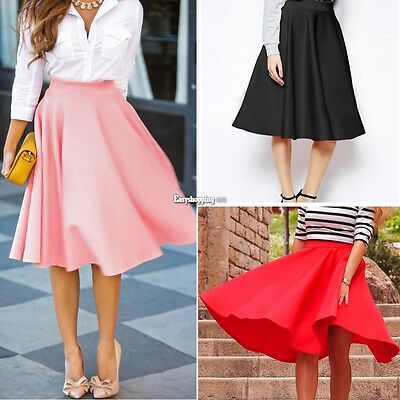 Vintage Women Stretch High Waist Skater Flared Pleated Swing Long Skirt Dress ES