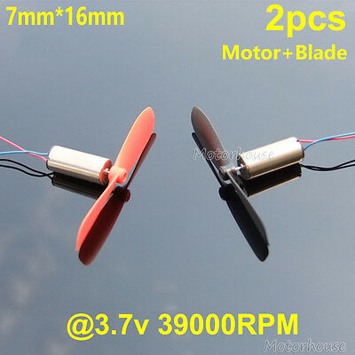 2pcs Coreless Motor+Blade DC3.7v 39000RPM Quadcopter RC Drone Spare Parts 7*16MM