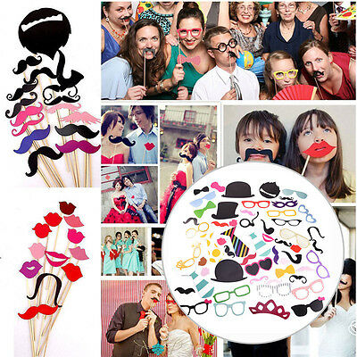 NEW 58ps Masks Glasses Lip Photo Booth Props Mustache Birthday Wedding Party DIY